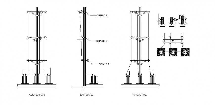 Electrical pole elevation, section, plan and installation