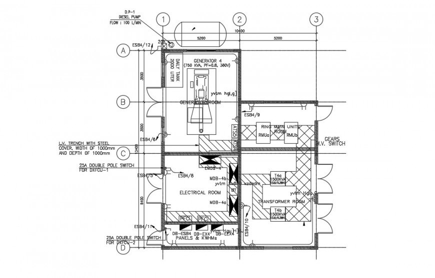 Electrical room plan drawings 2d view dwg autocad software