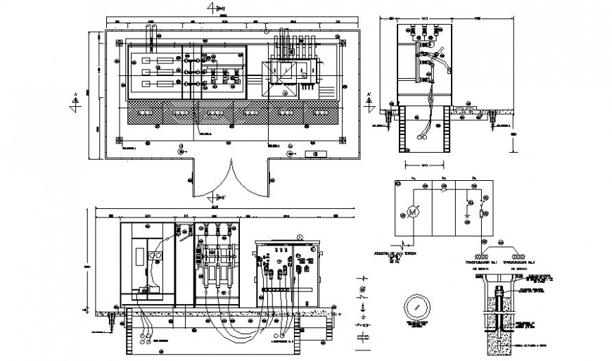 Electrical units drawings details plan and elevation