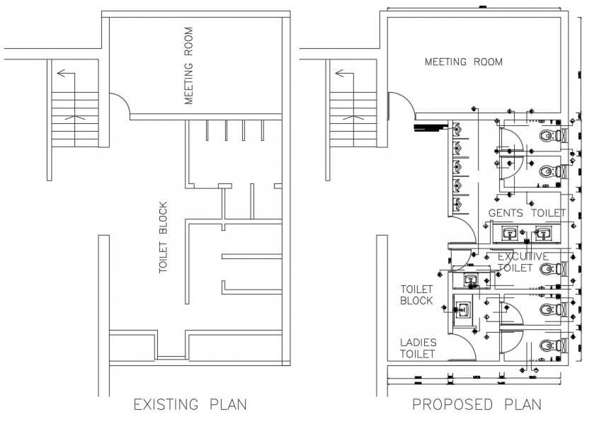 Existing plan and proposed plan of office toilet blocks