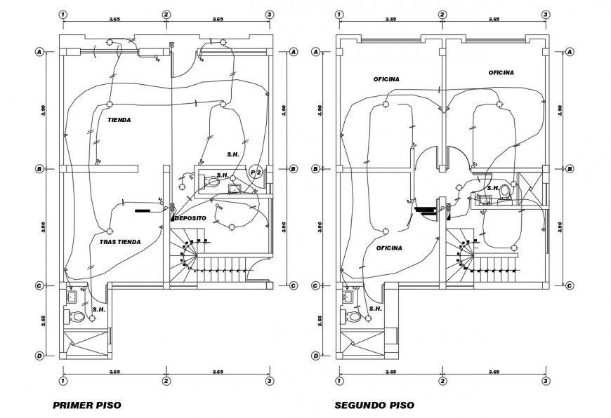 First and second floor electrical layout plan details of