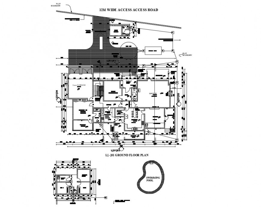 Floor plan with site area of house in auto cad software