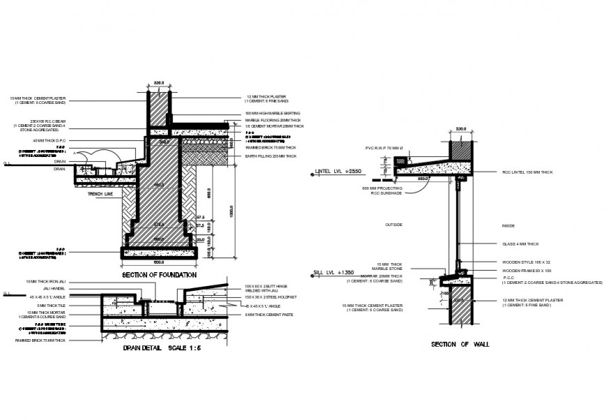 Foundation and drainage constructive plumbing details dwg