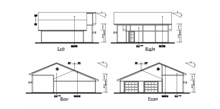 Front, rear, left and right side elevation of house cad