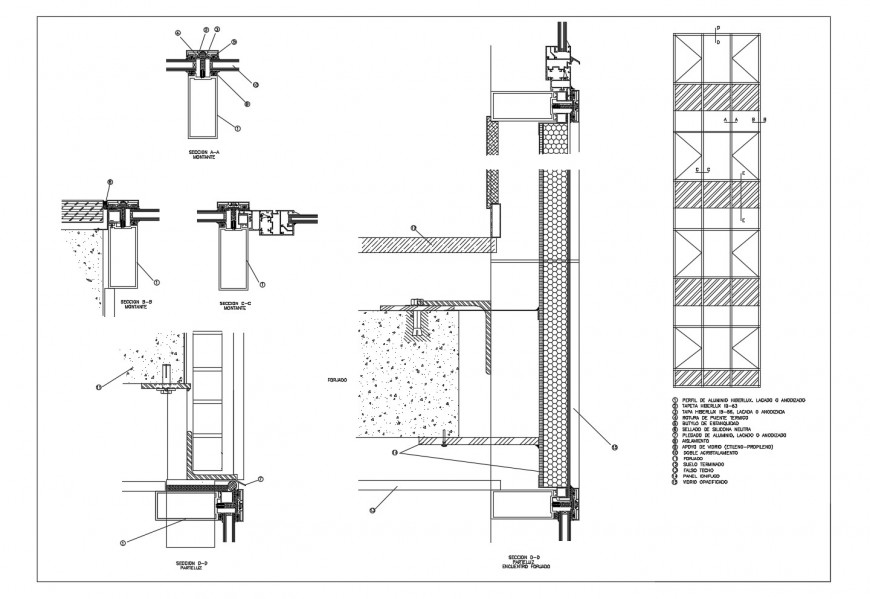 curtain wall section detail dwg