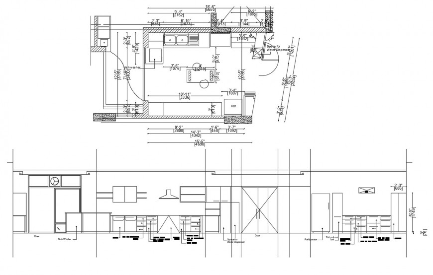 House kitchen detailed section and layout plan with