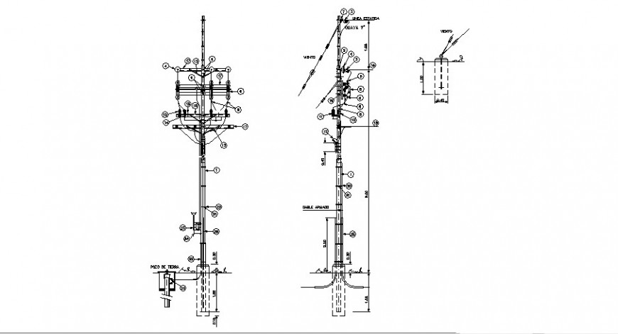 Light pole section and electric installation cad drawing