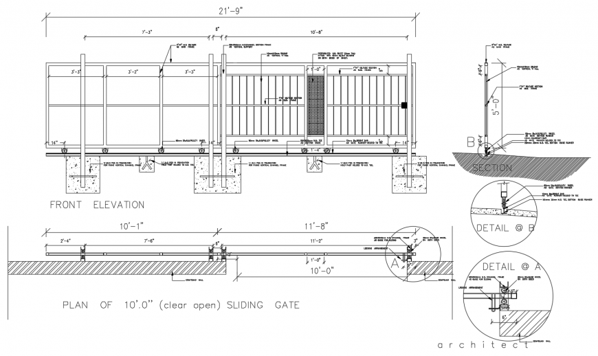 Metallic sliding gate constructive section and structure