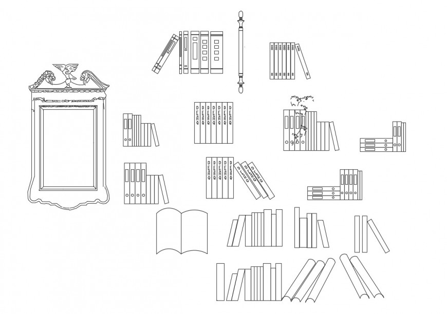 Miscellaneous books, mirrors and household blocks cad