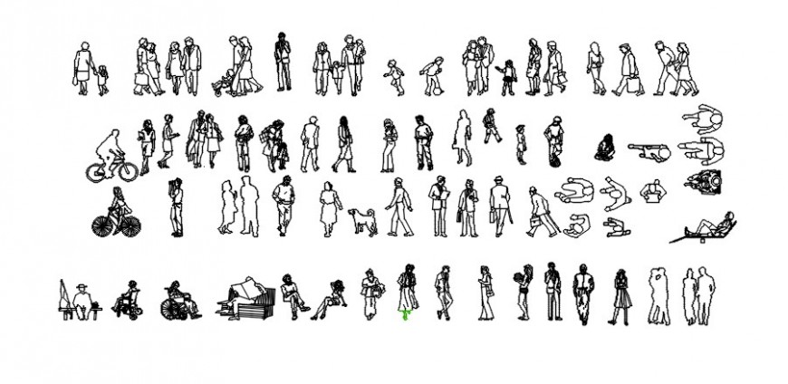 Miscellaneous people 2d elevation blocks drawing details