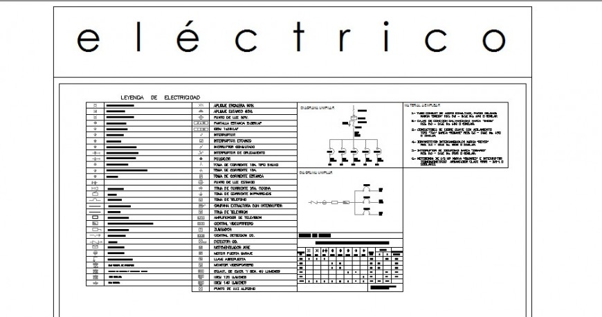 Multiple electrical legends and symbol blocks cad drawing