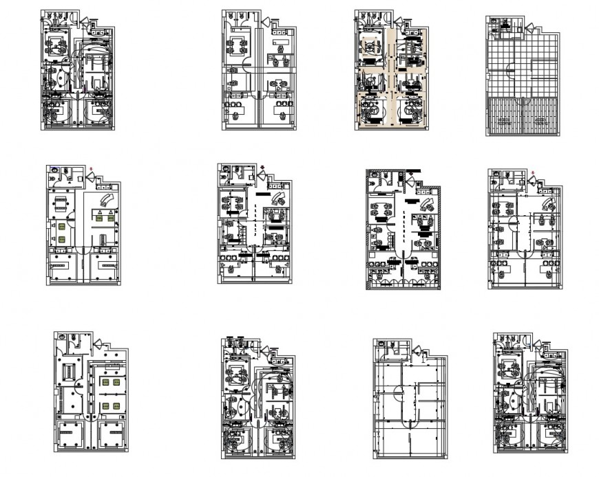 Multiple houses layout plan, electrical installation and