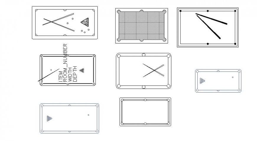 Multiple pool tables top view elevation block cad drawing