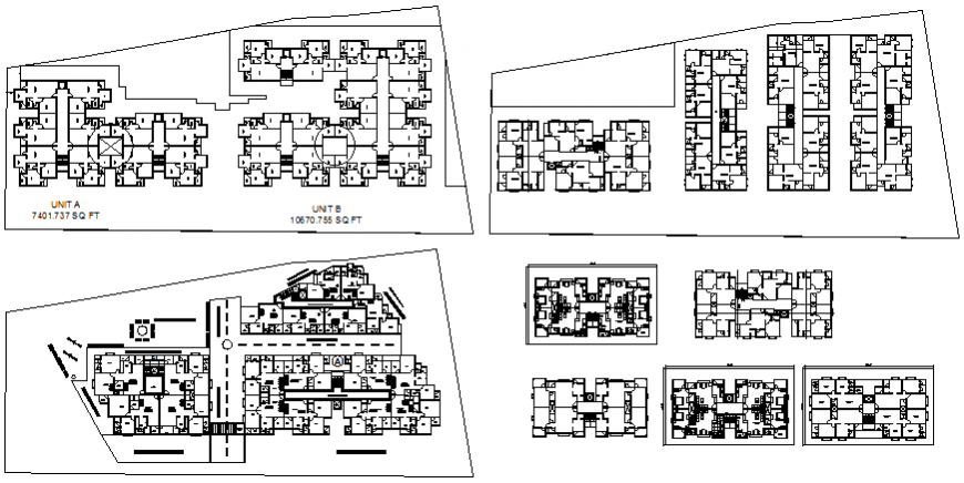 Multiple residential apartment floors layout plan details