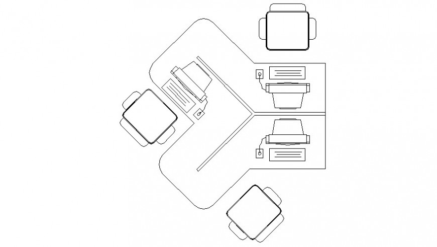 Office furniture blocks drawings details of table and