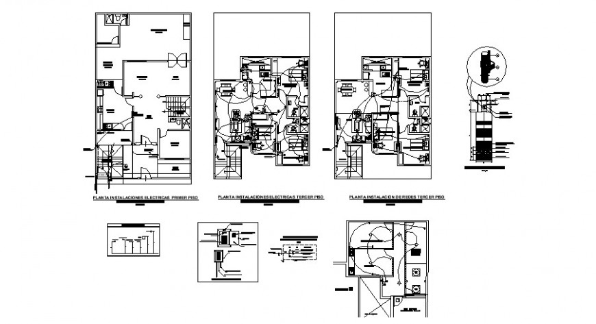 One family house distribution plan and electrical layout