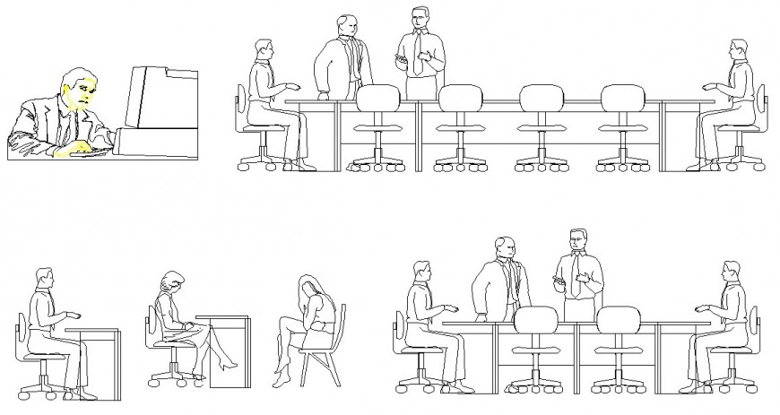 People in office detail 2d view CAD block layout autocad