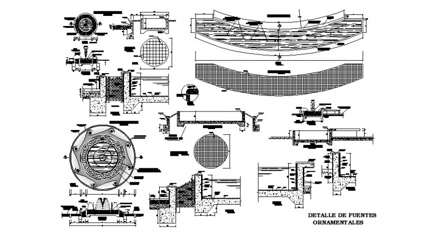 Plan and section of fountain 2d view CAD block autocad