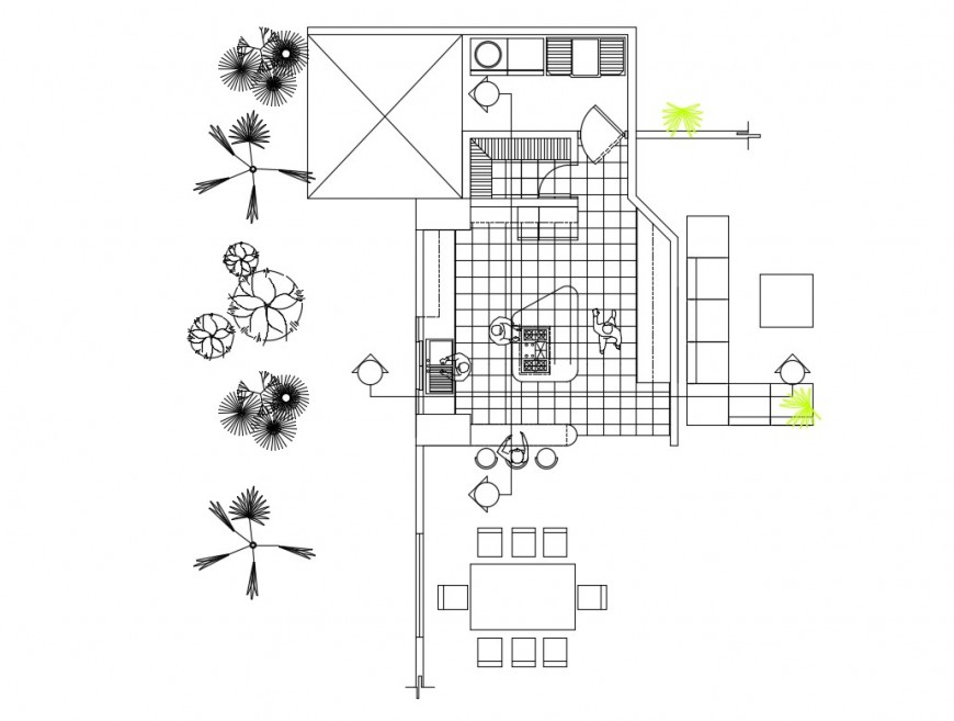 Plan detail of kitchen 2d view layout file in autocad