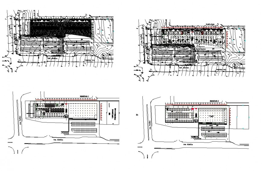 Plan view of an area and contour mapping detail 2d view