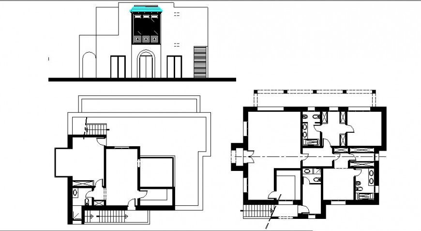 Residential apartment work plan and elevation autocad