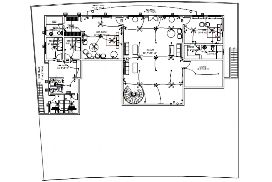 Residential house electrical layout plan cad drawing