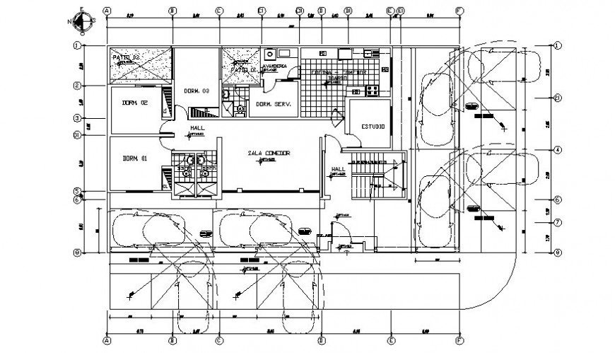 Residential house floor plan drawing 2d view autocad