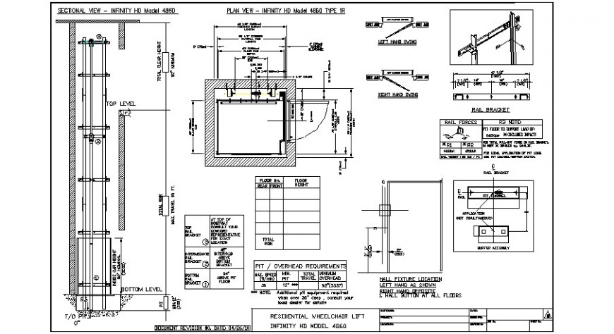 Residential wheel chair lift working detail drawing in dwg