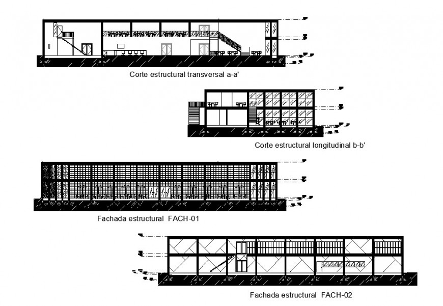 Restaurant building detail elevation and section 2d view