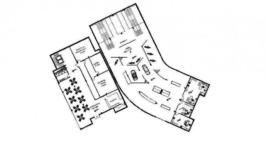 Restaurant parking and seating area layout plan drawing in