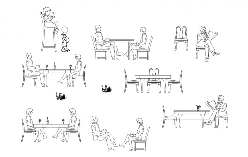 Restaurant people and furniture elevation blocks cad