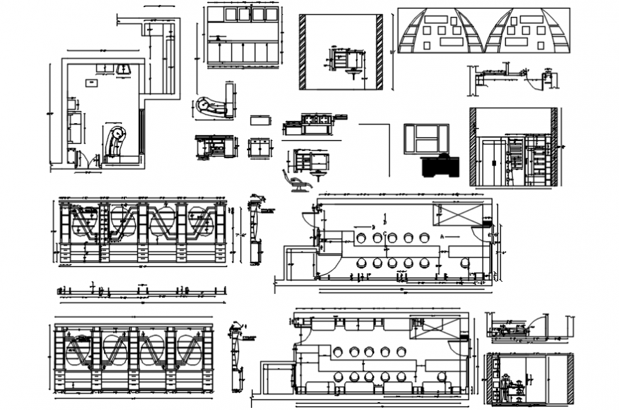 Retail store elevation, section, plan with furniture and