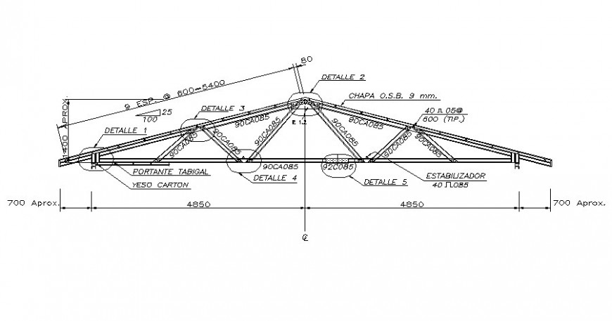 Roof truss drawings 2d view of structural blocks autocad