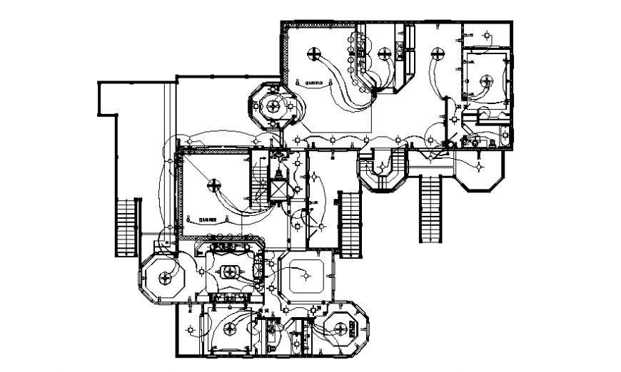Second floor layout plan details of one family house dwg