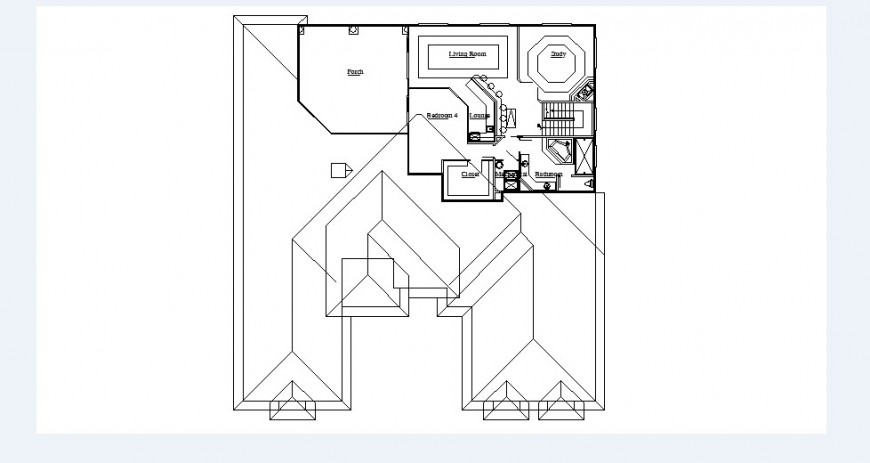 Second floor layout plan drawing details of house dwg file
