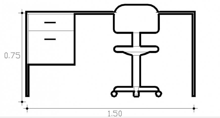 Simple office desk with chair elevation block drawing