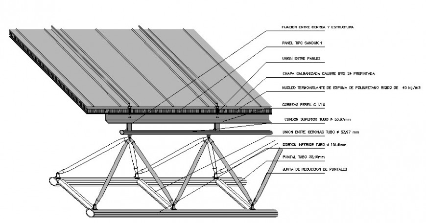 Solar plate panel elevated structure cad drawing details