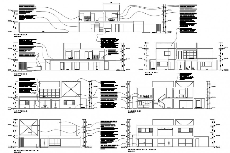 Technical institute all sided elevation and section 2d