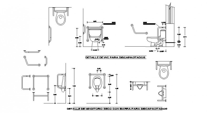 Toilets sheet section and installation cad drawing details