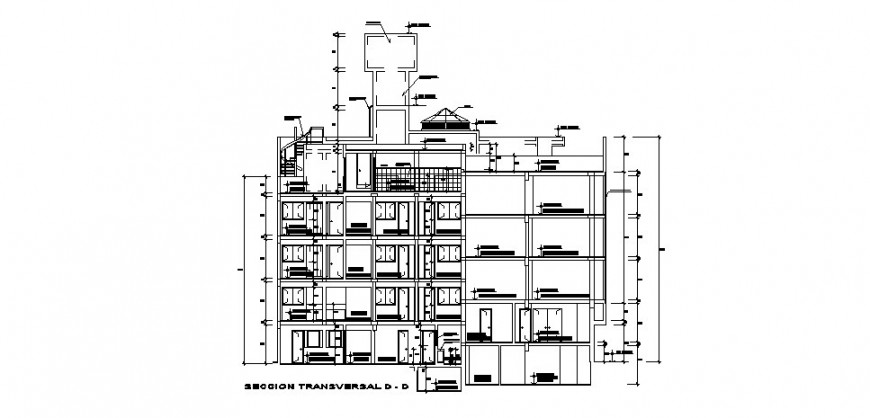 Transverse D-D sectional details of multi-story