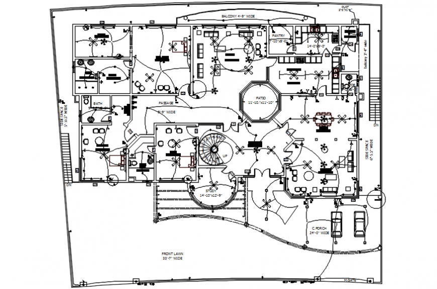 Two bedroom house electrical installation layout plan cad