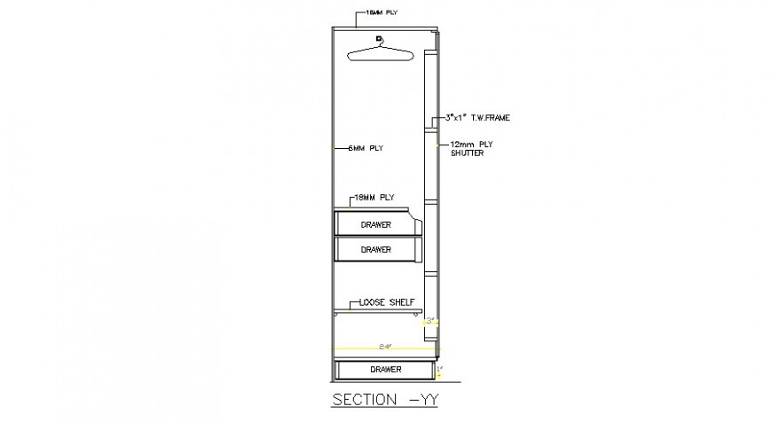 Wardrobe front side section cad drawing details dwg file