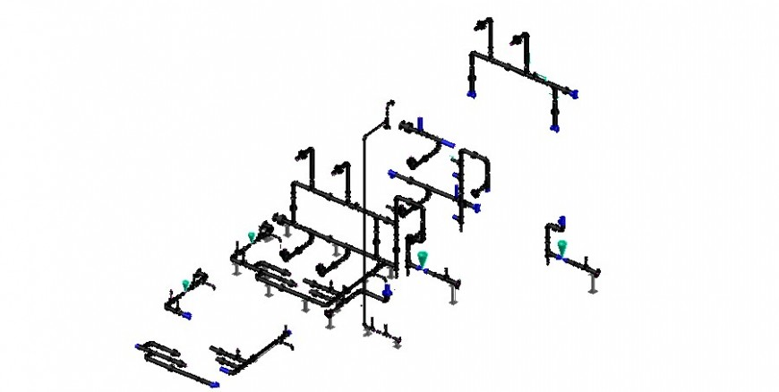 Water hydraulic system diagram 3d model cad drawing