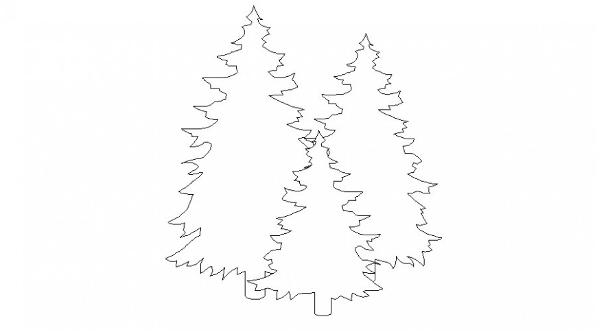 Xmas Christmas tree details Drawing of landscaping units