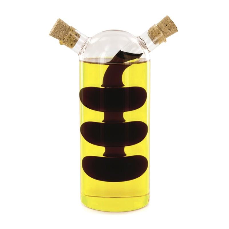 bouteille huile et vinaigre 2 en 1 design ovale