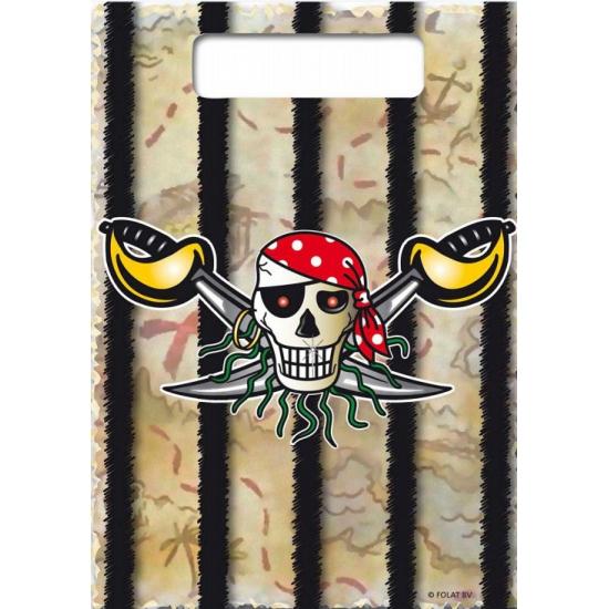 8x Piraten uitdeelzakjes verjaardag