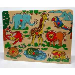 Houten knopjespuzzel met dieren