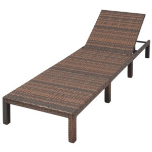 Sun Lounger with Cushion Adjustable Poly Rattan Brown