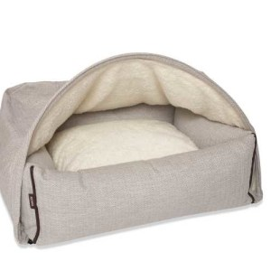 Hondenmand Snuggle Cave Bed Cream Herringbone