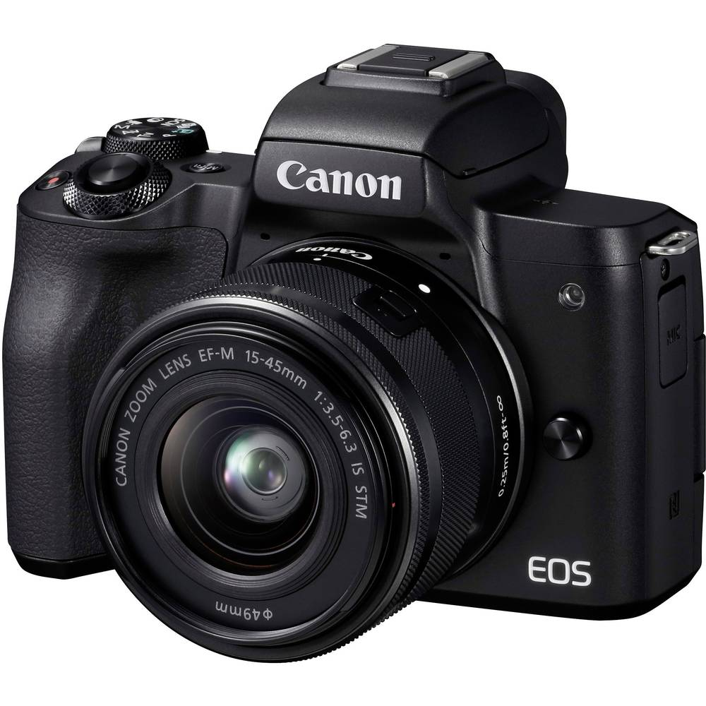 Systeemcamera Canon EF-M 15-45 Kit Incl. EF-M 15-45 mm IS STM Behuizing (body), incl. accu, incl. standaard-zoomlens 24.1 Mpix Zwart 4K Video, Bluetooth,